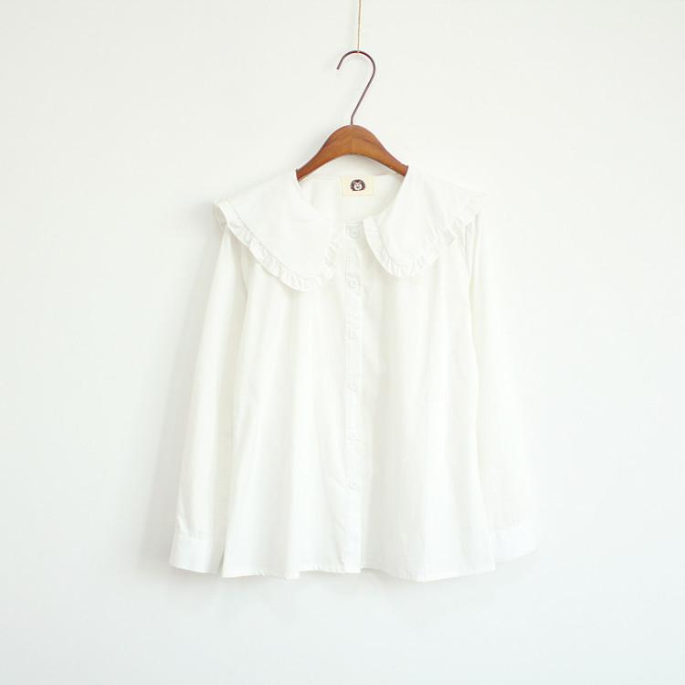 【日系甜美洛丽塔百搭娃娃领长袖衬衫】-衣服-服饰鞋