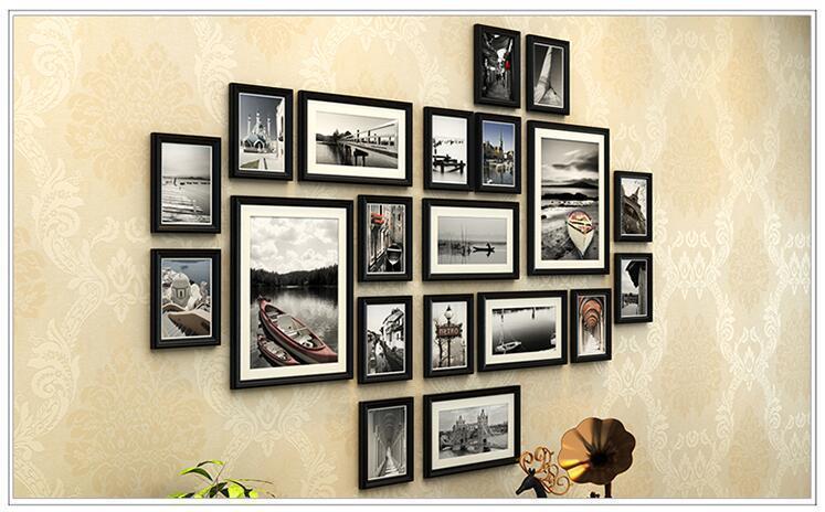 【欧式实木照片墙 客厅背景相框墙企业文化墙相框