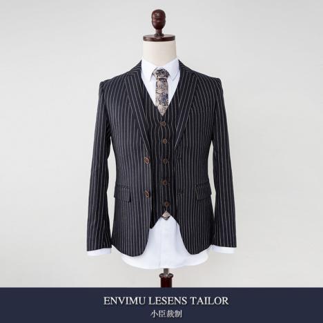 秋冬新款欧美商务绅士竖条纹修身男士复古西装英伦风瘦身休闲西服