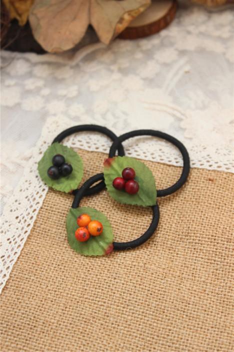 创意可爱森系手工制作原创饰品浆果树叶拍照盘发道具发圈发绳头饰