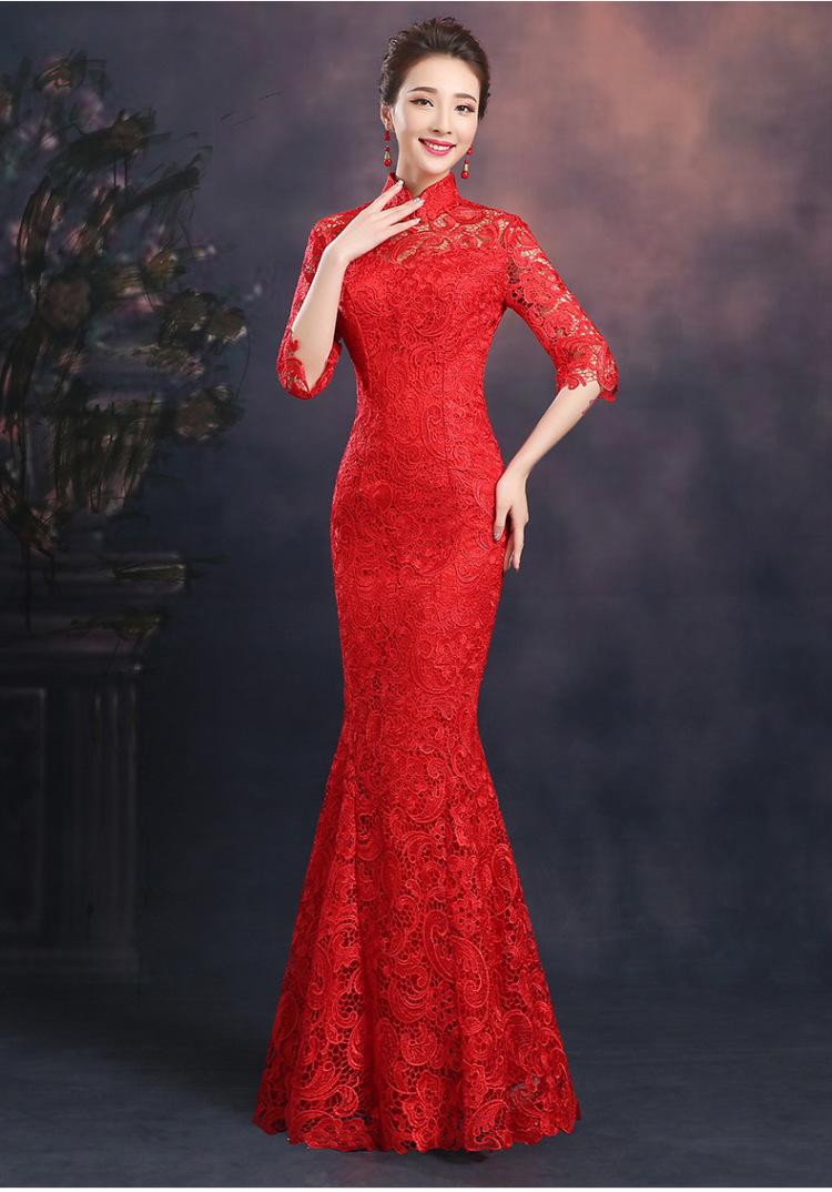 【新娘结婚旗袍 2015长款红色修身礼服短袖蕾丝鱼尾-新买的红色旗袍图片