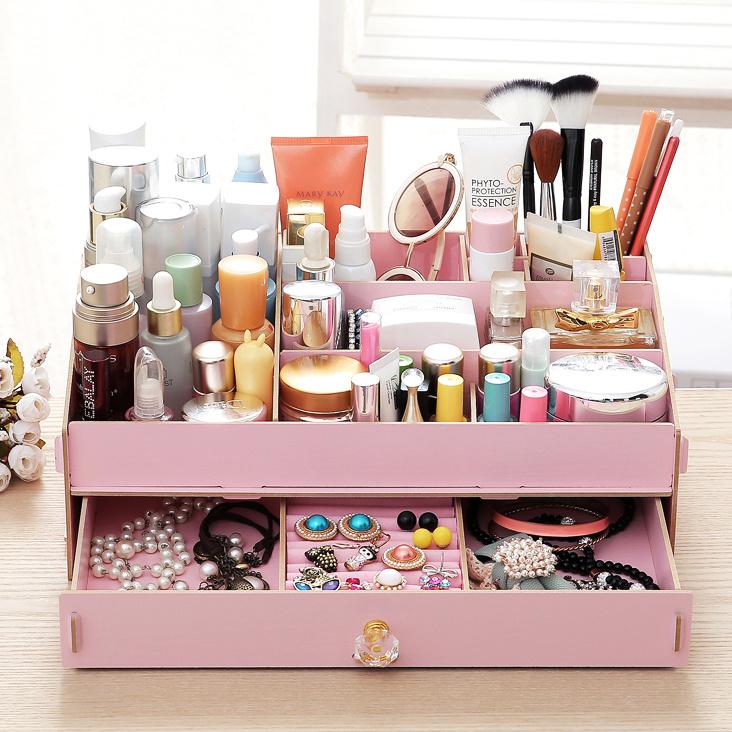 【木质桌面化妆品收纳盒】-无类目-百货