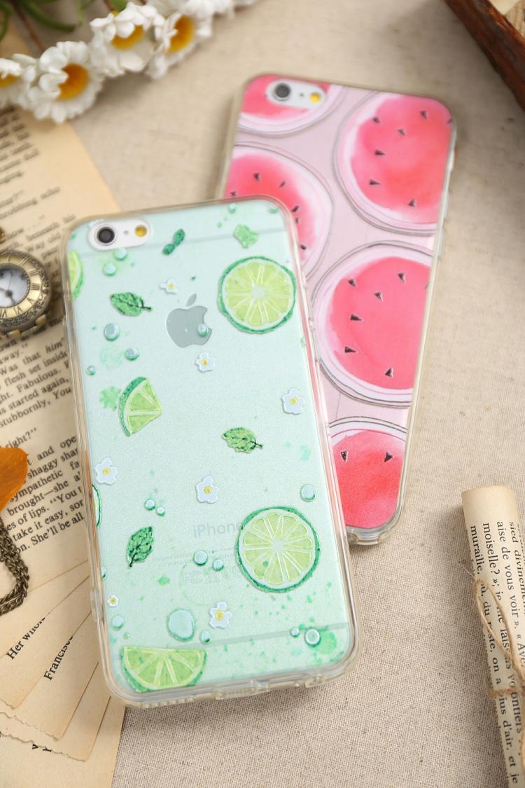 西瓜柠檬夏日小清新iphone6/6s/6p硅胶全包手机壳