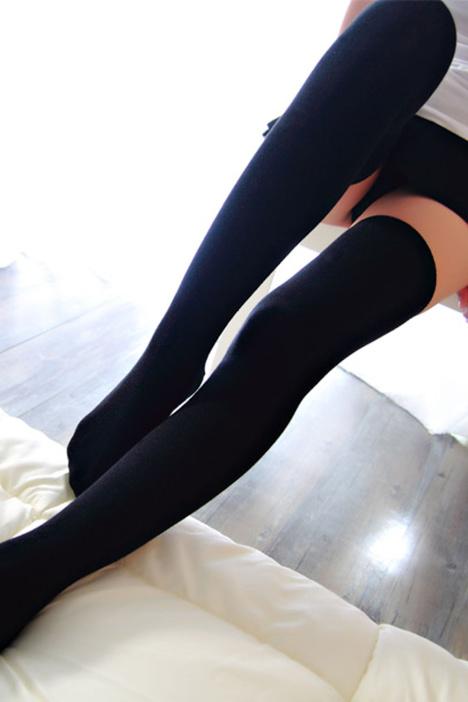 日系可爱过膝袜性感高筒袜防勾丝黑色显瘦丝袜子女