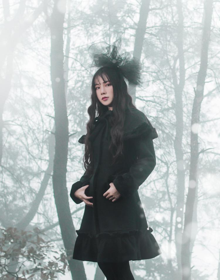 诺里原创中长款哥特洛丽塔暗黑甜美宫廷复古洋装羊毛毛呢大衣外套