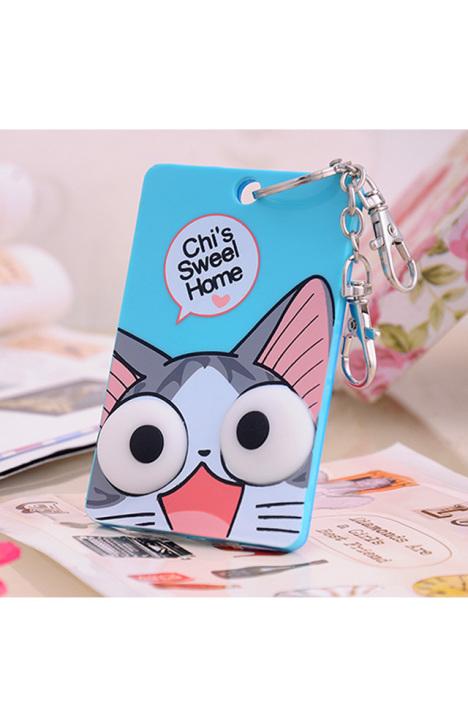 韩版立体超萌卡通卡套钥匙圈--起司猫