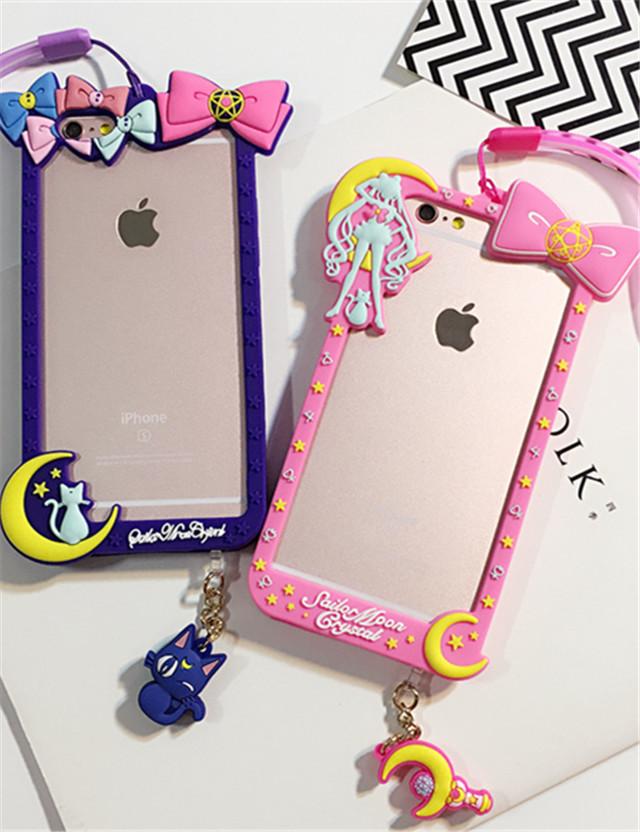 【可爱美少女战士边框iphone6s手机壳6plus挂绳6s】