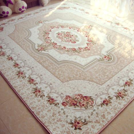 欧式田园玫瑰地毯 客厅茶几 卧室满铺床边珊瑚绒地毯可水洗