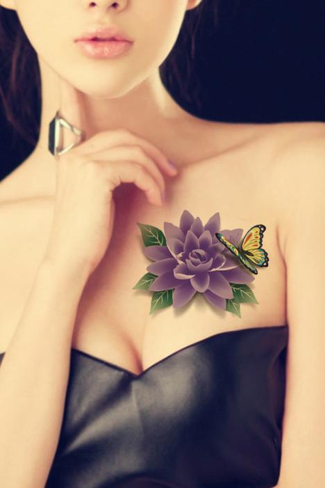 纹身贴防水女3d蝴蝶花朵玫瑰花牡丹莲花花臂立体纹身贴纸129