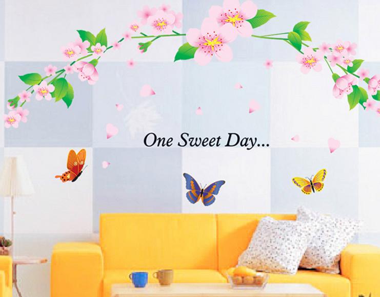 【美室】花藤彩蝶卡通墙贴 儿童房幼儿园装饰贴