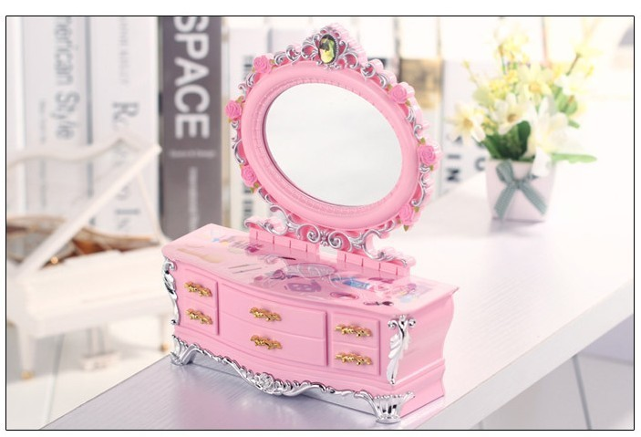 【欧式粉色梳妆台化妆镜小首饰收纳盒音乐盒八音盒】