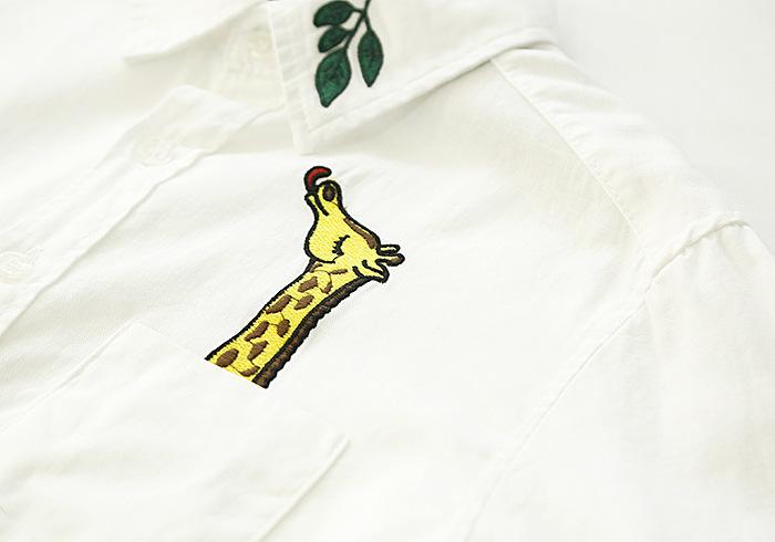 【长颈鹿树叶刺绣白衬衫】-无类目-服饰鞋包_女装