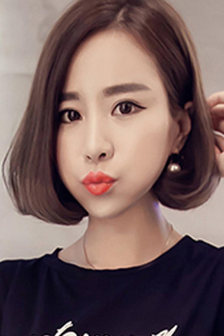 韩式中分刘海假发女短发内扣波波中长发梨花头微卷波波短直发整顶