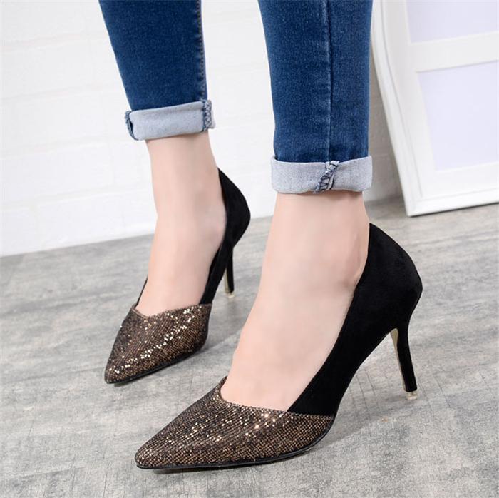 亮片高跟鞋尖头单鞋
