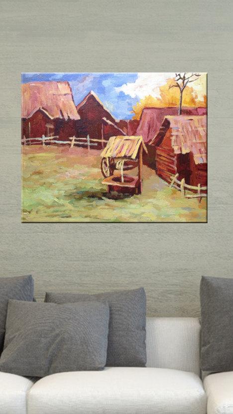 纯手绘丙烯画/无框画原创/暖色风景油画