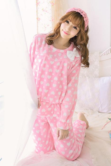 粉色睡衣女冬珊瑚绒可爱蝴蝶结 甜美桃心套头加绒法兰绒家居服
