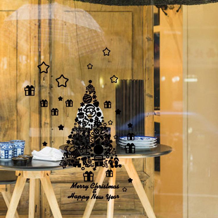 【艾沃】圣诞雪花灯 商店橱窗玻璃背景墙装饰墙贴 可移除