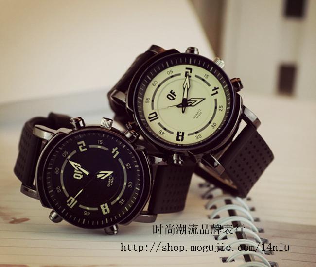 韩版炫酷时尚彩色箭头指针大表盘情侣款手表