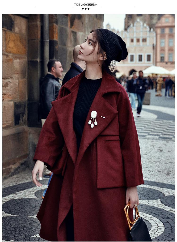 【韩版中长款酒红色羊毛呢大衣】-衣服-服饰鞋包_女装