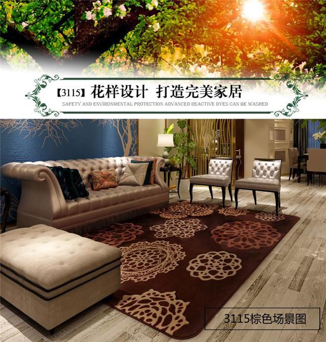 【客厅欧式茶几防滑卧室沙发玫瑰花地毯】-家居-家
