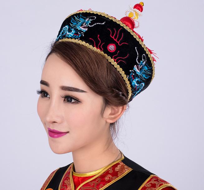 古装服装皇后凤冠帽清朝皇帝绣龙太后帽纯手工制作
