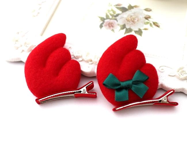 新款儿童圣诞发饰天使翅膀立体圣诞发夹红色发箍生日发卡