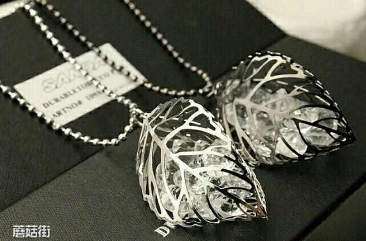 韩国水晶立体镂空树长款毛衣链