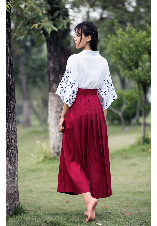 【彼岸花&玫瑰和风刺绣绣花和风套装两件套】-衣服