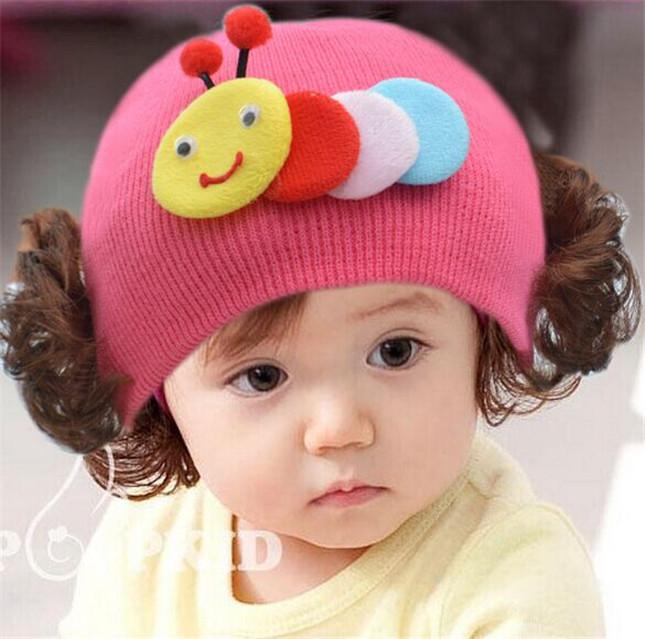 【儿童可爱帽子女宝宝假发帽纯棉】-母婴-帽子
