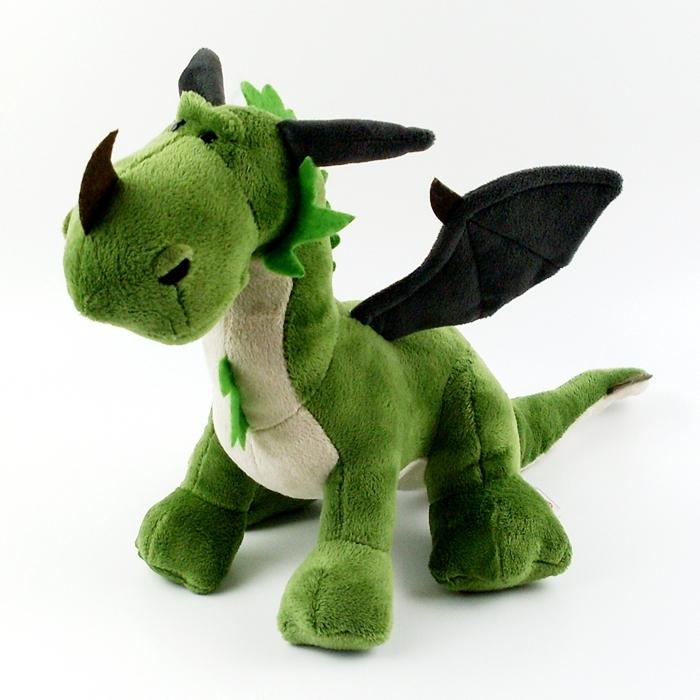nici恐龙毛绒玩具毛绒公仔双头龙橘色飞龙绿色龙玩具娃娃礼物!