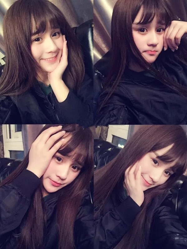 韩国假发女生空气刘海长发长直发甜美可爱 中长发微