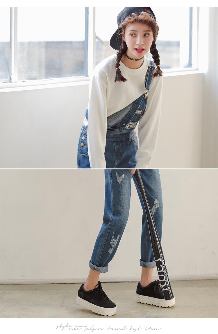 韩版磨白牛仔背带裤百搭米奇卡通图案长裤潮