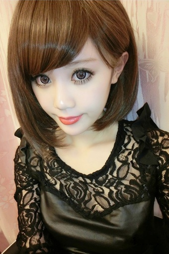 买一送七 短发全头假发套 斜刘海韩国女生学生高温丝bobo头