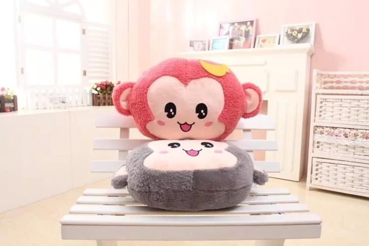 萌萌哒~可爱舒畅猴子抱枕手捂