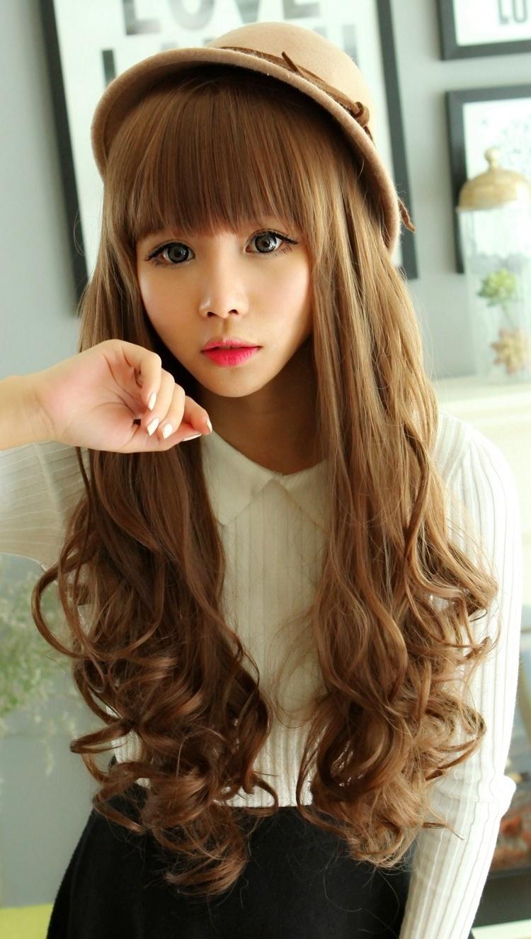 韩国齐刘海女生长卷发 蓬松逼真中长发梨花头可爱整顶假发套