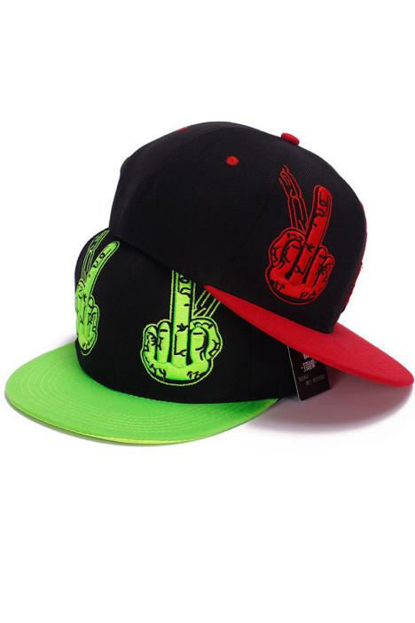 韩版春季遮阳嘻哈帽 立体刺绣中指手势平沿帽个性男女帽子