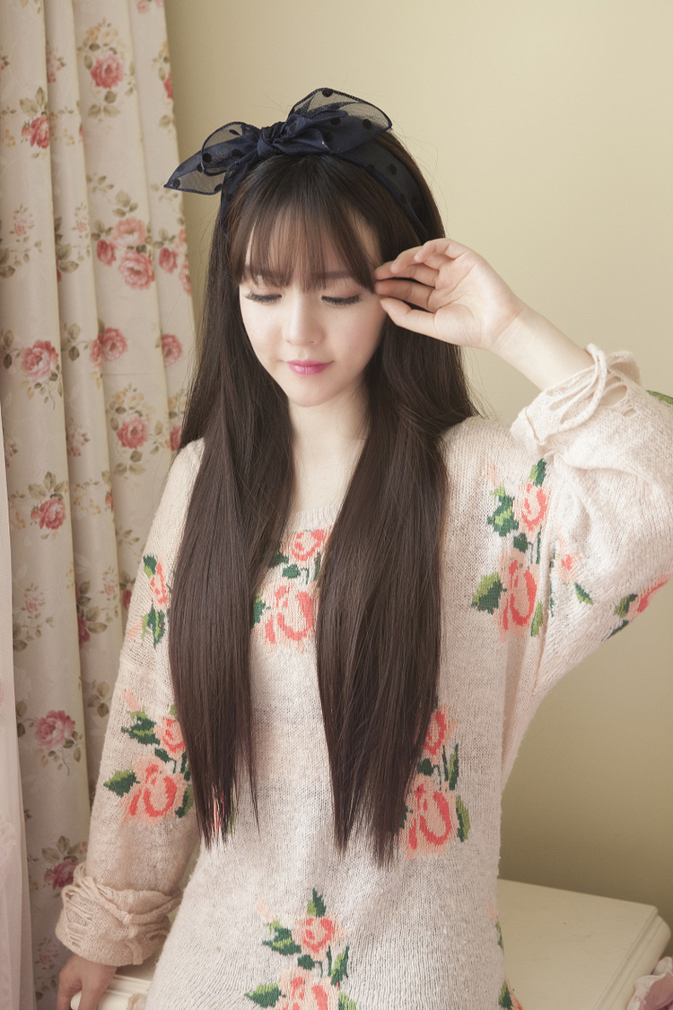 大头皮空气刘海齐刘海长直发修脸可爱韩国高温丝女假发全头套