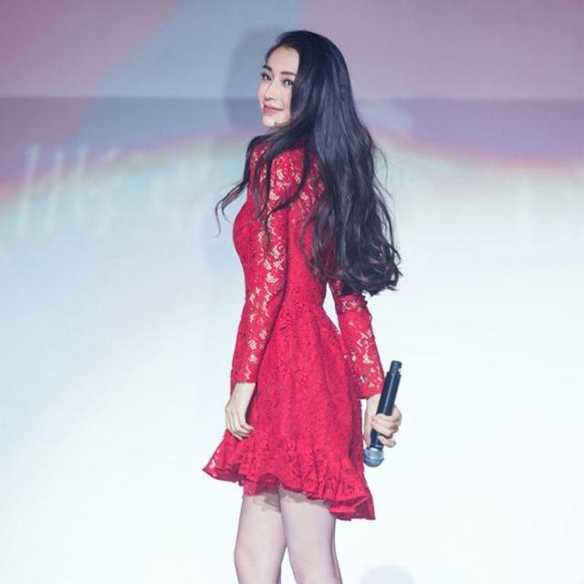【杨颖同款红色镂空蕾丝连衣裙】-衣服-裙子_连衣裙