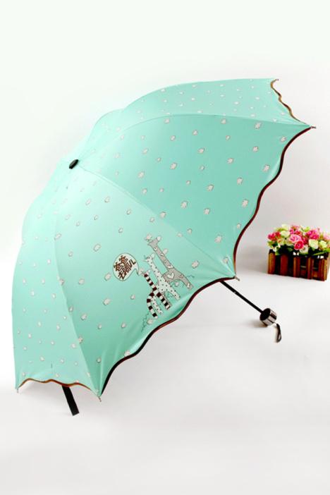 【2015新款时尚荷叶边可爱卡通防紫外线防晒睛雨伞】