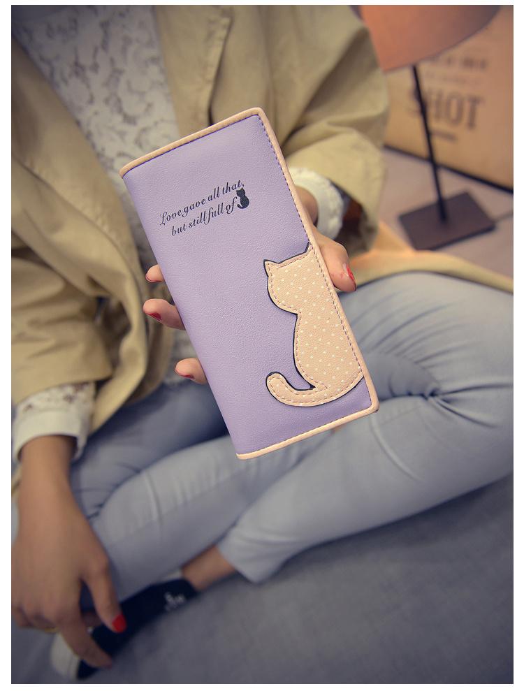 【【大懒猫】小猫咪钱包刺绣卡通可爱长短款零钱包】