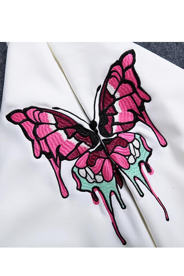 欧洲站春秋装新款明星同款蝴蝶刺绣卫衣女太空棉长袖t恤上衣女
