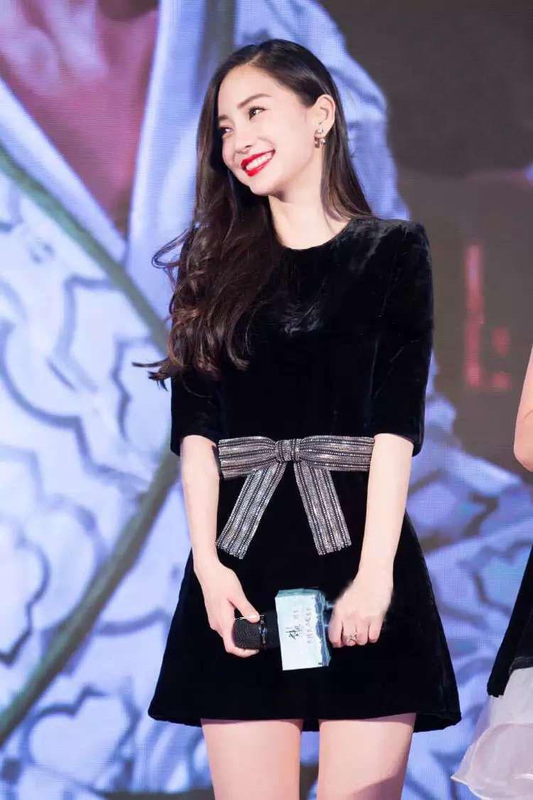 angelababy杨颖同款黑色天鹅绒丝绒蝴蝶结连衣裙