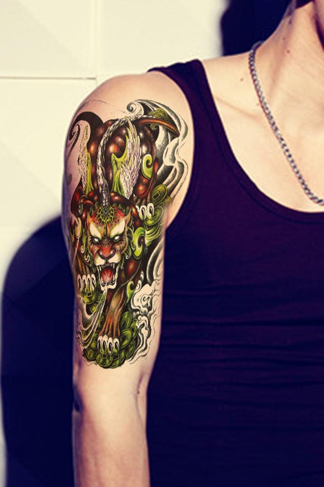 花臂下半臂纹身貔貅分享展示图片