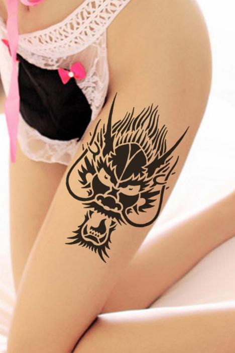 纹身贴 男 防水原创黑色花臂持久图腾龙贴纸龙头纹身贴181 (468x702)