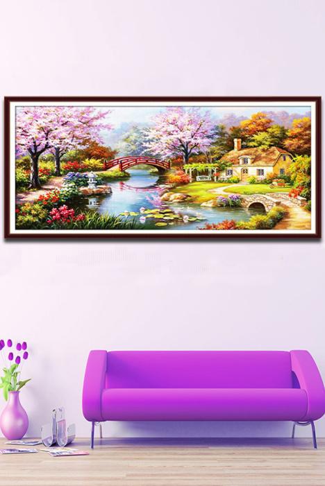 5d魔方圓鉆石畫夢幻家園滿鉆歐式花園山水風景鉆石繡