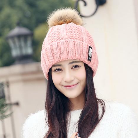 韩版帽子女士针织毛线帽 秋冬天加绒加厚b标贴标毛球护耳保暖帽
