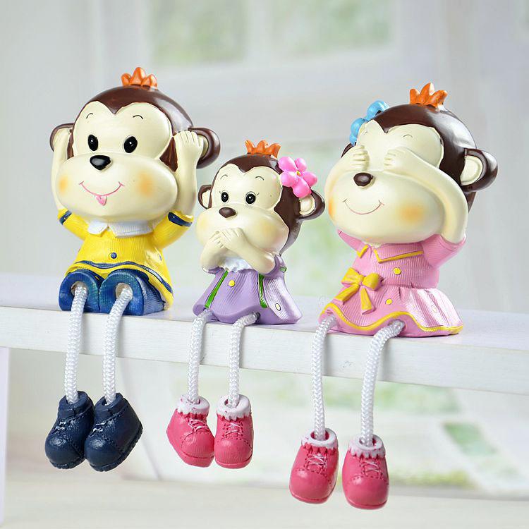 限时特价三不猴一套3个 树脂吊脚娃娃工艺品卡通摆设
