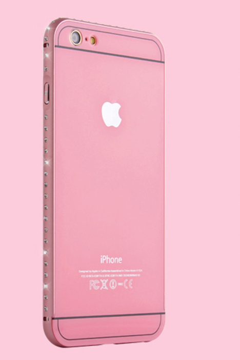 【粉色金属边框苹果6plus手机壳水钻iphone6保护套