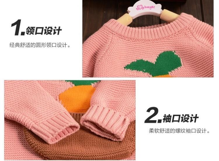 童装2015冬装新品韩版女童小宝宝可爱卡通休闲百搭毛衣针织衫