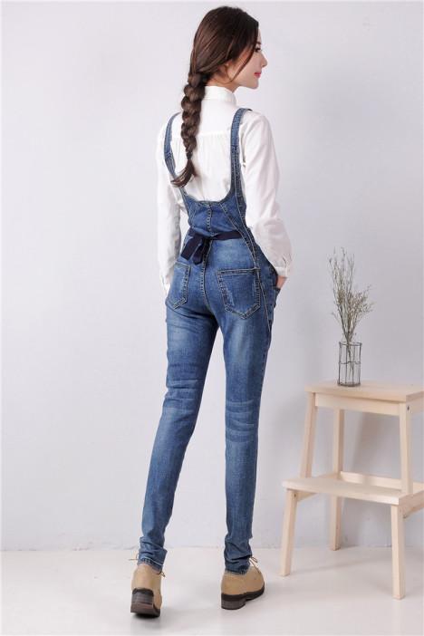 韩范后背系带修身显瘦小脚牛仔背带裤图片